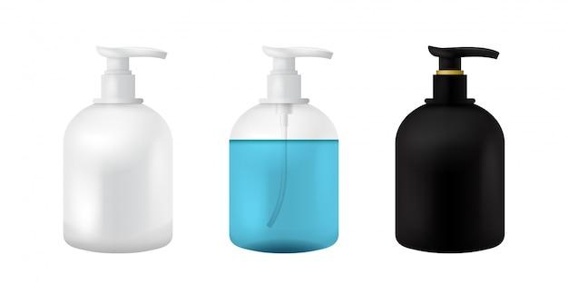 Plastikowa butelka kosmetyczna. na białym tle czarny, biały i przezroczysty makieta do zupy, szamponu, żelu, sprayu, balsamu do ciała, szamponu. 3d realistyczny szablon kontenera. zestaw przezroczystych makiet opakowań medycznych.