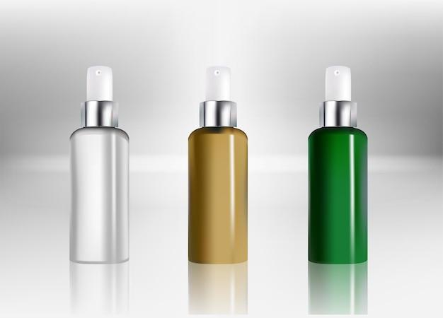 Plastikowa butelka kosmetyczna w sprayu. pojemnik na płyn do pakietu reklam. pakiet produktów kosmetycznych na tle. ilustracja wektorowa.v