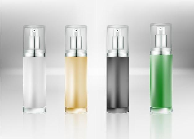 Plastikowa butelka kosmetyczna w sprayu. pojemnik na płyn do pakietu reklam. pakiet produktów kosmetycznych na tle. ilustracja wektorowa.