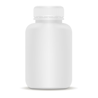 Plastikowa butelka leku. biała ilustracja 3d wektor.