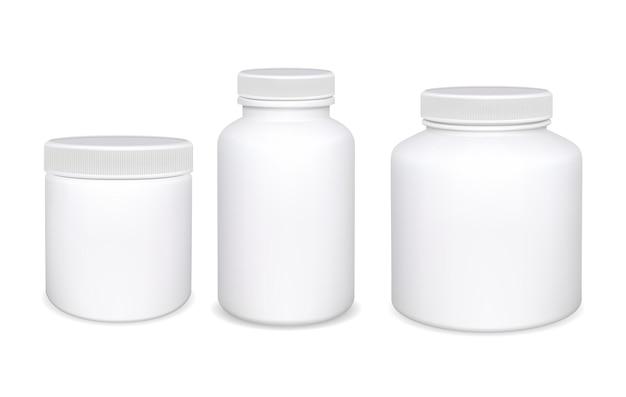 Plastikowa butelka na białym tle. butelki na pigułki z białym suplementem.