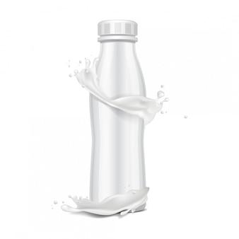 Plastikowa butelka z zakrętką i kroplami mleka. do produktów mlecznych. do mleka pij jogurt, śmietanę, deser. realistyczny szablon opakowania