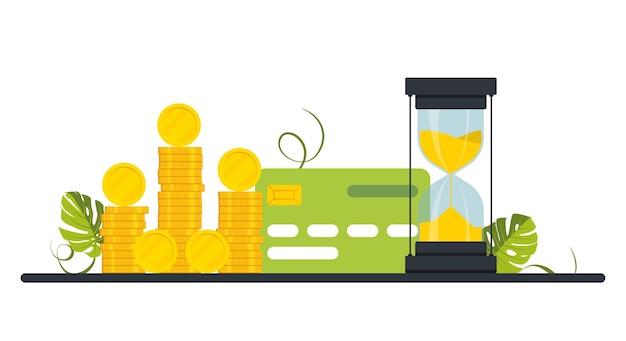 Plastikowa karta kredytowa. duży stos złotych monet, pieniędzy, klepsydry i banku kredytowego. koncepcja mnożenia pieniędzy, bogactwo, nowoczesny projekt obrazu pieniędzy. rodzaje płatności. ilustracja wektorowa