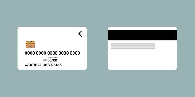Plastikowa karta kredytowa lub debetowa zbliżeniowa smart charge przednia i tylna strona z chipem emv i paskiem magnetycznym. makieta szablonu pustego projektu. ilustracja wektorowa na białym tle biały