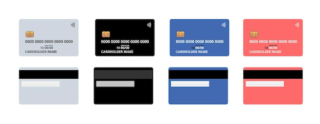 Plastikowa karta kredytowa lub debetowa zbliżeniowa smart charge przednia i tylna strona z chipem emv i paskiem magnetycznym. makieta szablonu pustego projektu. zestaw ilustracji wektorowych na białym tle