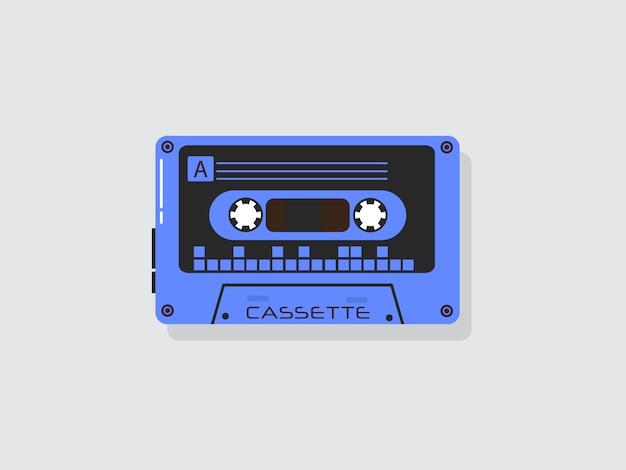 Plastikowa kaseta audio, zabytkowe urządzenia multimedialne, nagrywanie muzyki na białym tle ikony. set rocznik muzyczna retro kaseta na białym tle.