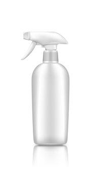 Plastikowa Makieta Butelki Kosmetycznej Pistoletu Natryskowego Na Białym Tle Premium Wektorów