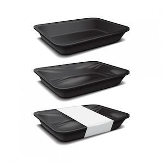 Plastikowa taca na czarne jedzenie, pojemnik na posiłek z ciemnej pianki, puste pudełko na ilustracji wektorowych żywności