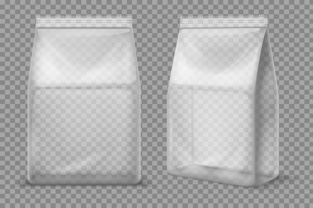 Plastikowa torba na przekąski. przezroczysta pusta saszetka na żywność. 3d wektor pakiet na białym tle