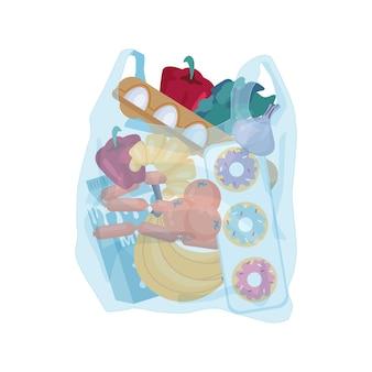 Plastikowa torba z artykułami spożywczymi kupionymi w sklepie.
