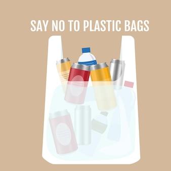 Plastikowa torba z plastikowymi butelkami i puszkami. rozmowa o ekologii. ilustracja.
