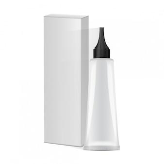 Plastikowa tuba z czarną nasadką i białym pudełkiem na lekarstwa lub kosmetyki - farba do włosów, żel, pielęgnacja skóry, pasta do zębów. szablon opakowania