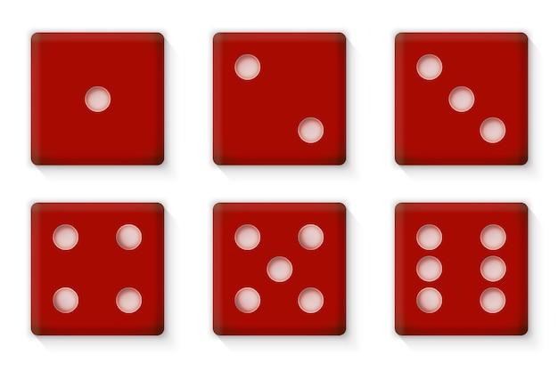 Plastikowe czerwone kostki do kasyna ilustracji wektorowych eps10