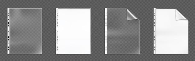Plastikowe kieszenie dziurkowane, puste foldery z zagiętym rogiem i otworami, torby z białymi pustymi arkuszami na przezroczystym tle