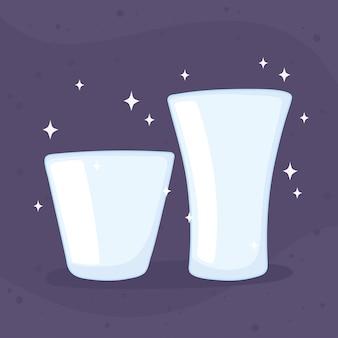 Plastikowe lub szklane kubki butelki, ilustracji wektorowych naczynia kuchenne szklane