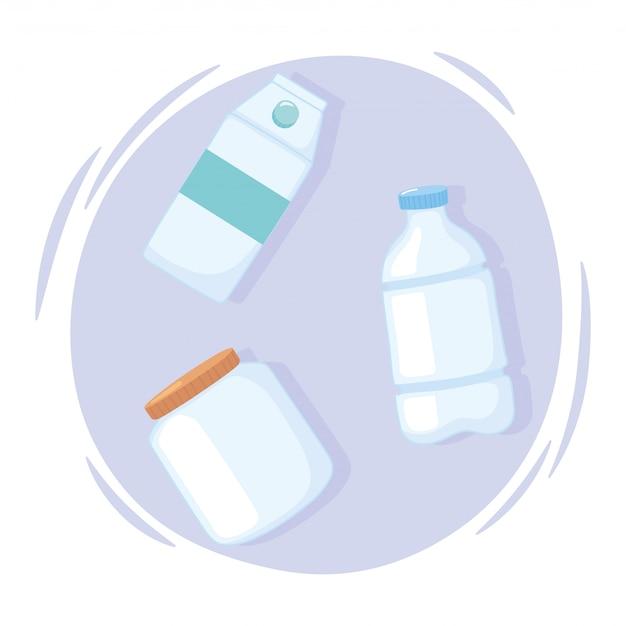 Plastikowe lub szklane kubki butelki, plastikowe butelki i inne pojemniki ilustracji wektorowych