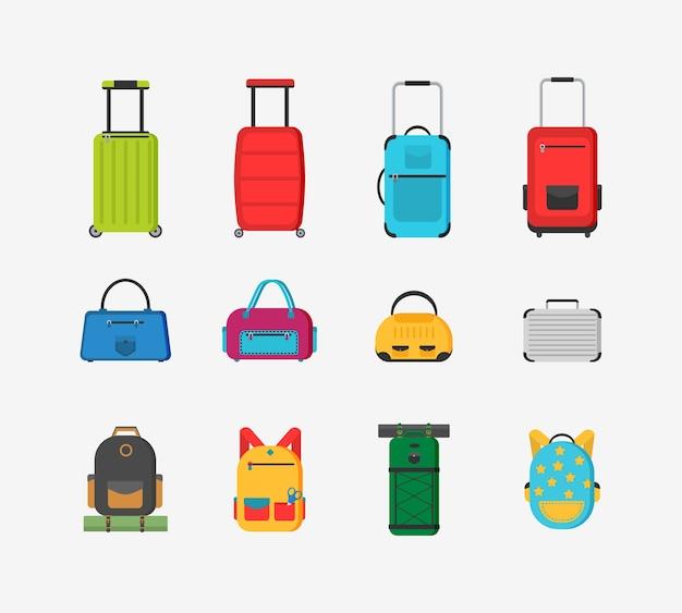 Plastikowe, metalowe walizki, plecaki, torby na bagaż. różne rodzaje bagażu. duża i mała walizka, bagaż podręczny, plecak, pudełko, torebka.
