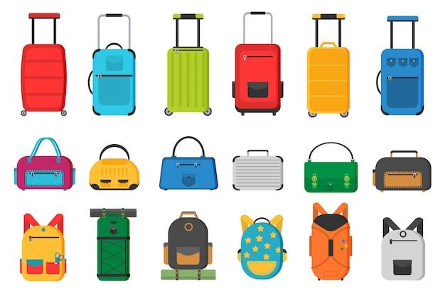 Plastikowe, metalowe walizki, plecaki, torby na bagaż. różne rodzaje bagażu.