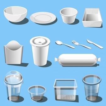 Plastikowe naczynia jednorazowe naczynia wektorowe ikony