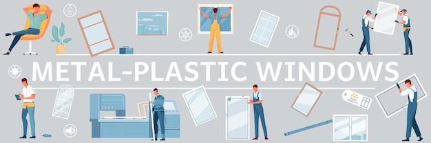 Plastikowe okna płaskie i izolowane postacie ilustracji pracowników