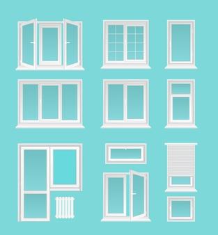 Plastikowe okna płaskie ilustracje ustawione na niebieskim tle
