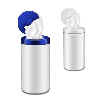 Plastikowe opakowanie chusteczek nawilżanych z klapką. wektor realistyczne puste opakowanie zestaw makieta
