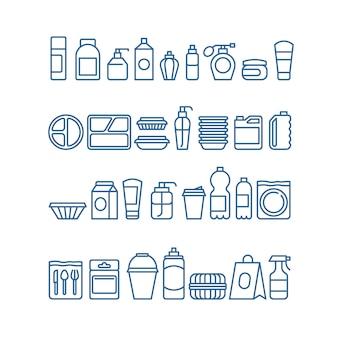 Plastikowe opakowanie produktu, jednorazowe naczynia, pojemniki na żywność, kubki i talerze ikony linii