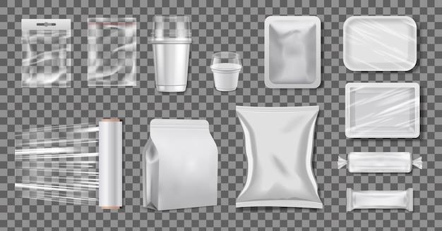 Plastikowe opakowanie z polietylenu. realistyczne celofanowe pudełka i kubki.