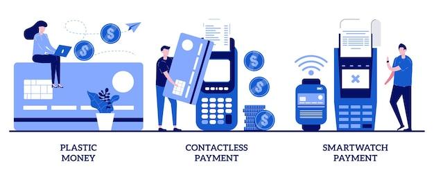 Plastikowe pieniądze, zbliżeniowa płatność za smartwatch z ilustracjami małych ludzi