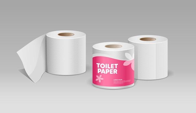 Plastikowe rolki tkanki różowy pakiet i biały papier toaletowy projekt kolekcji tła wektor
