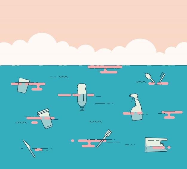 Plastikowe śmieci w oceanie. pojęcie problemu zanieczyszczenia. ilustracja wektorowa płaska linia.