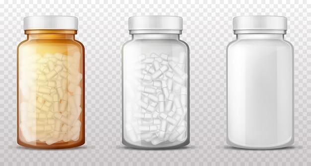 Plastikowe, szklane butelki na pigułki realistyczny wektor