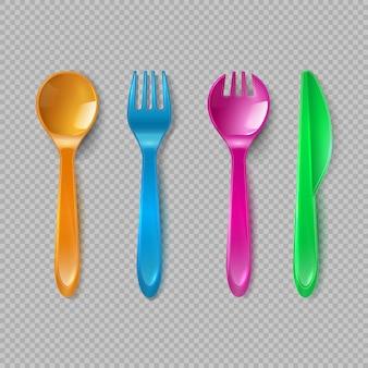 Plastikowe sztućce dla dzieci. mała łyżka, rozwidlenie i nóż odizolowywający. jednorazowe naczynia, zestaw zabawek kuchennych wektor zestaw narzędzi. ilustracja nóż i plastikowy widelec, łyżka, sztućce do jadalni koloru