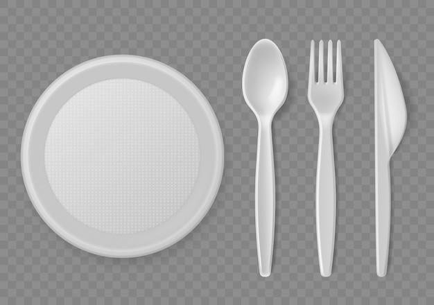 Plastikowe sztućce jednorazowe serwujące ilustracja przybory kuchenne