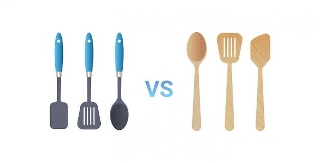 Plastikowe vs drewniane naczynia kuchenne narzędzia do gotowania zestaw łopatka ikona zero odpadów koncepcja płaskie białe tło poziome