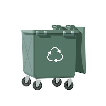 Plastikowy kosz na śmieci pusty pojemnik na śmieci ilustracja wektorowa w płaskim stylu