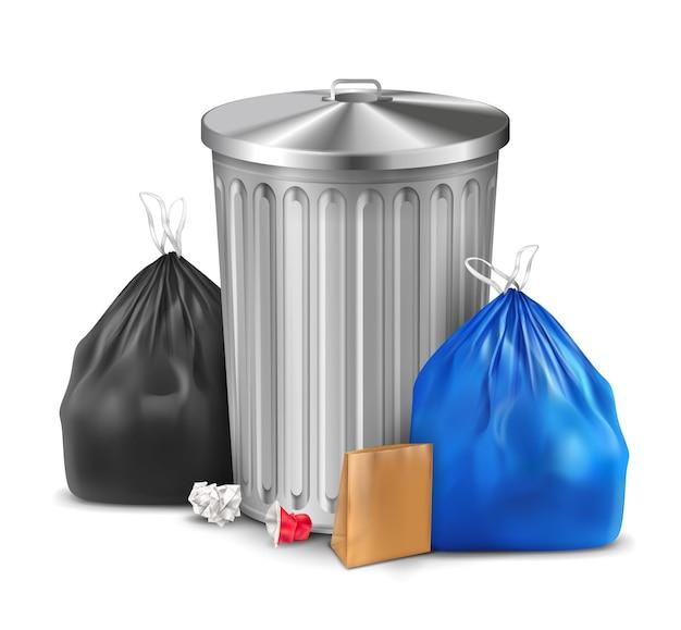 Plastikowy worek na śmieci i realistyczny skład kosza z metalowym wiadrem i parą worków z ilustracją śmieci