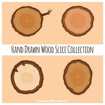 Plastry drewniane ręcznie rysowane