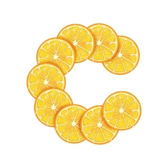Plastry pomarańczy ułożone w kształt litery c c