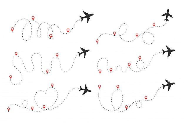 Płaszczyzna podąża za linią przerywaną. loty z miejsca wylotu do miejsca docelowego na mapie świata.