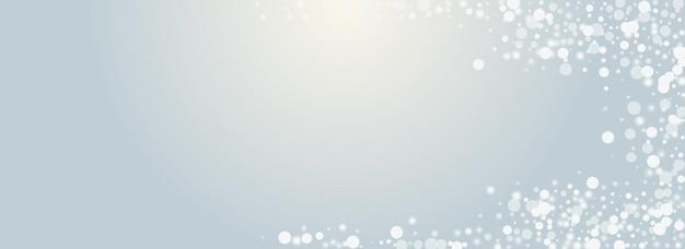 Płatek szary wektor panoramiczny przezroczyste tło. biała poświata śniegu karta. elegancka pocztówka śnieżycy. błyszczące gwiazdy tapety.