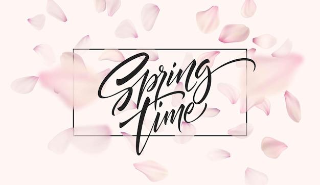 Płatek wiśni tło z napisem czas wiosny. ilustracja