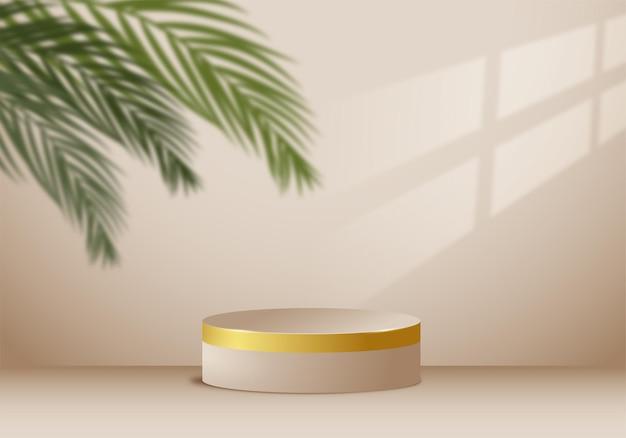 Platforma do prezentacji produktów i liście palmowe