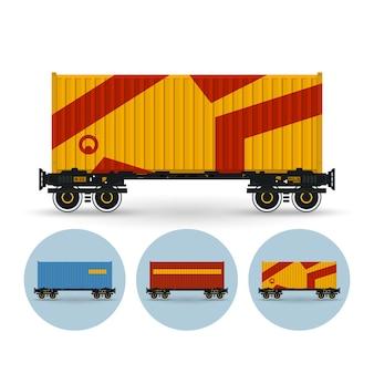 Platforma kontenerowa do transportu kontenerów koleją. zestaw trzech okrągłych kolorowych ikon platformy kontenerowej, ilustracji wektorowych