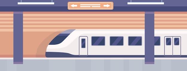 Platforma metra. puste wnętrze stacji metra z przyjeżdżającym pociągiem. podziemny transport miejski. wektor miasta publicznych prędkości pociągu. pusty peron i kolejka metra, wnętrze dworca publicznego