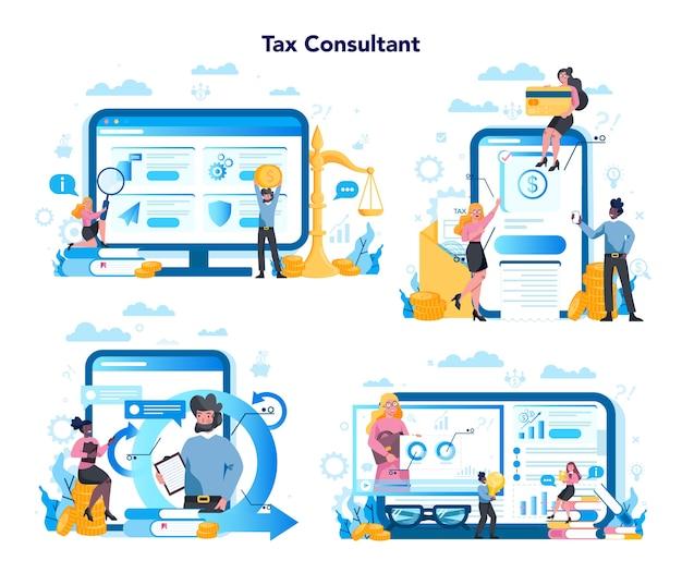 Platforma usługowa doradcy podatkowego na zestawie koncepcji różnych urządzeń. idea księgowości i płatności. rachunek finansowy. optymalizacja podatkowa, odliczenia i zwroty.