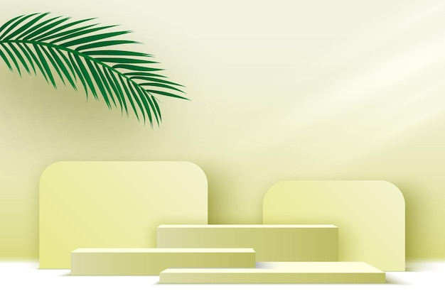 Platforma wystawowa produktów puste podium z liśćmi palmowymi beżowy cokół ilustracja wektorowa