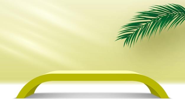 Platforma wystawowa produktów puste podium z liśćmi palmowymi żółty stojak wystawowy na cokole wektor