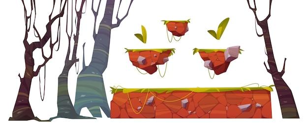 Platforma z trawą dla interfejsu poziomu gry. kreskówka zestaw elementów gui na tle zręcznościowej lub animacji komputerowej. zaprojektuj zasoby dla gry mobilnej lub konsoli