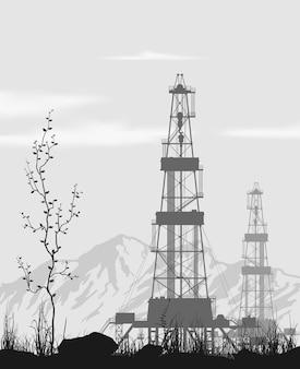 Platformy wiertnicze na polu naftowym nad pasmem górskim. szczegółowa ilustracja wektorowa.